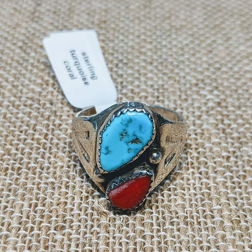 Men's Turquoise & Coral Ring