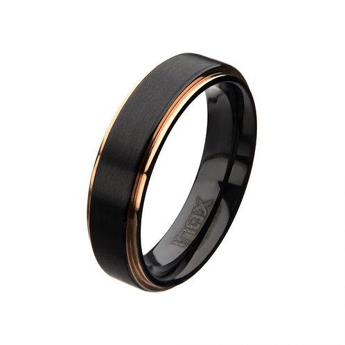 Black Zirconium & Rose Gold Plated Edge Ring