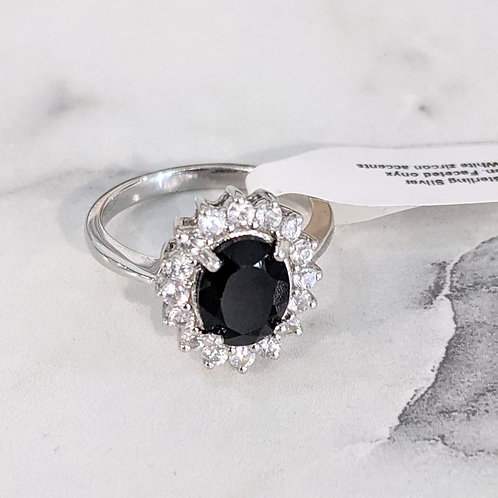 Onyx Ring with White Zircon Ring