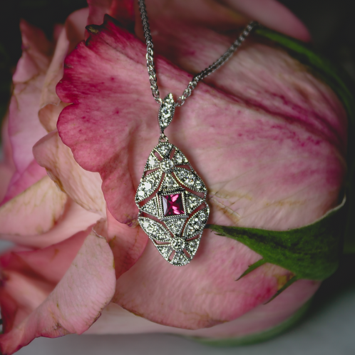 Brevani Ruby & White Gold Necklace