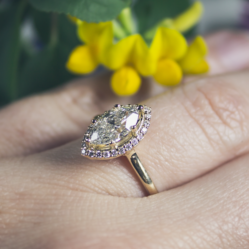 Marquise-Cut Diamond with Halo