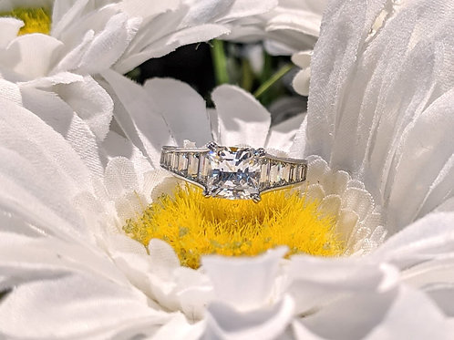 Square CZ Channel-Set Ring