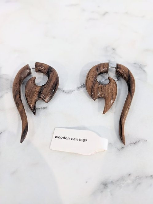 Hand-Carved Wood Earrings