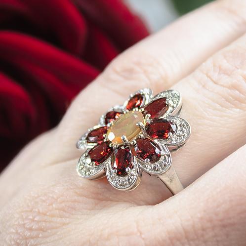 Garnet & Welo Opal Flower Ring