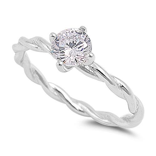 Cubic Zirconia Twist Ring in Sterling Silver