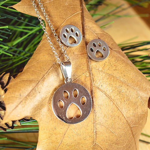 Paw Print Earrings & Necklace
