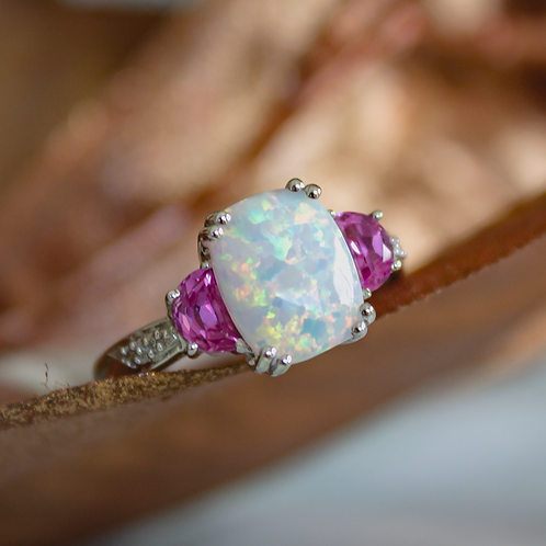 Opal & Pink Topaz Ring