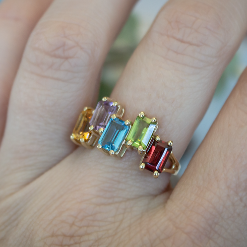 Multi-Gemstone Rainbow Ring