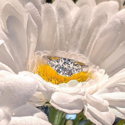 Three Stone CZ Sterling Silver Ring