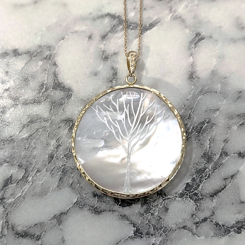 Mother-of-Pearl Scrimshaw Tree Necklace