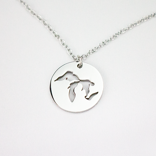Stainless Steel Great Lakes Disc Necklace
