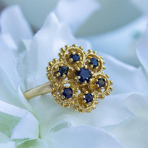 Vintage SapphireFlower Ring
