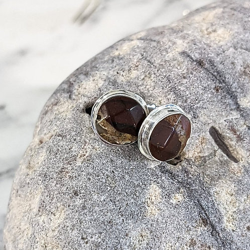 Round Pudding Stone Stud Earrings