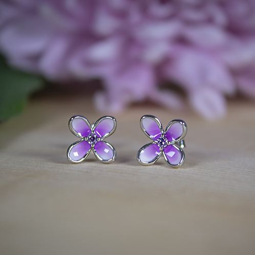 Sterling Silver Lilac Stud Earrings