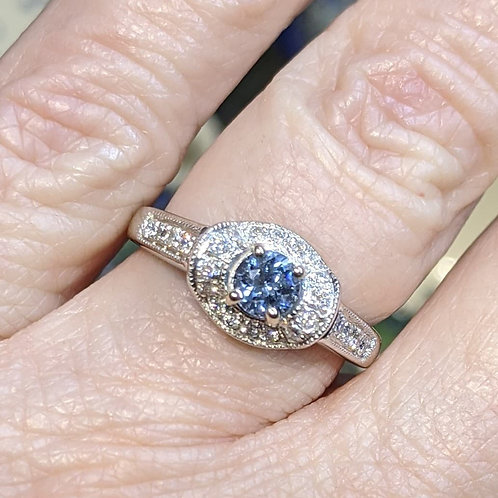 Chatham Blue Aqua Spinel and Diamond Ring