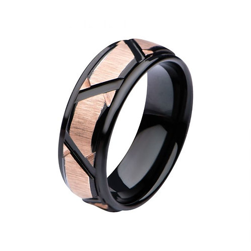 Rose Gold Plated & Black Plated Patterned Ring