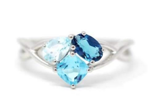 London, Sky, and Swiss Blue Topaz Ring