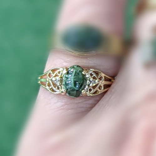 Gold Lace Greenstone Ring