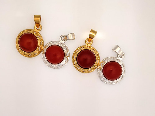 Plated Red Agate Pendants