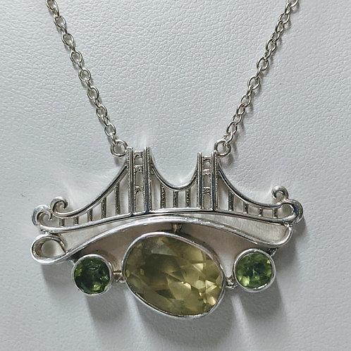 Honey Citrine & Peridot Bridge Necklace