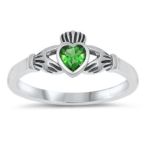 Lab-Created Emerald Claddagh Ring