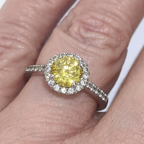 White & Yellow Cubic Zirconia Ring
