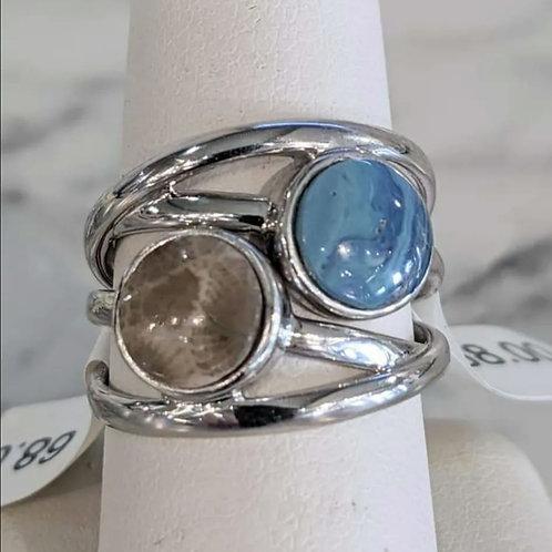 Adjustable Petoskey Stone or Leland Blue Ring