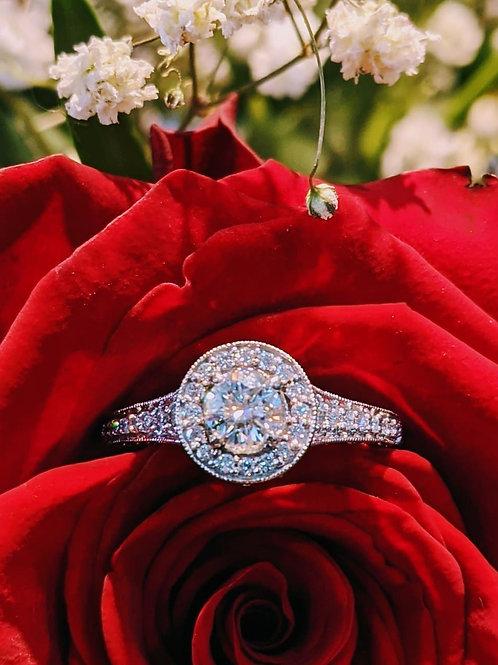 Platinum Moissanite & Diamond Ring