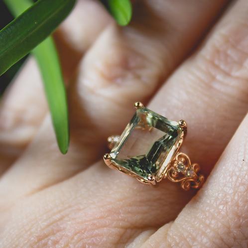 Prasiolite Ring in Rose Gold