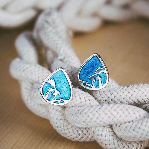 Great Lakes Water Drop Stud Earrings