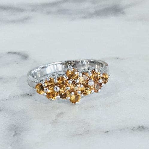 Orange Sapphire Cluster Ring