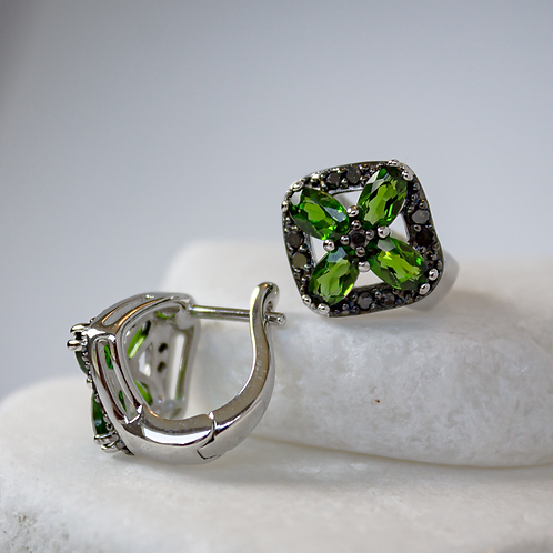 Tsavorite Garnet & Black Diamond Earrings
