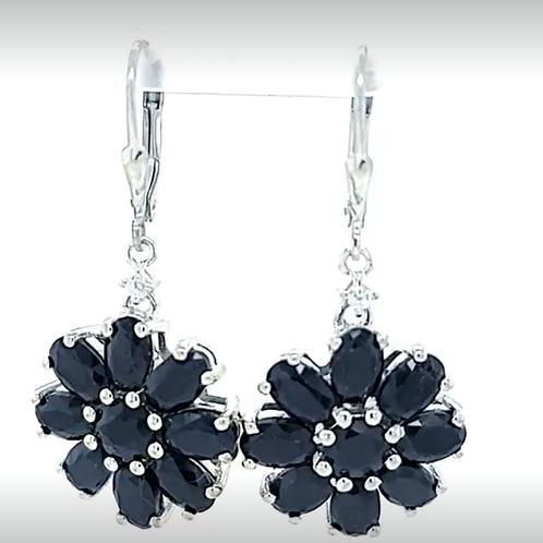 Navy Blue Sapphire Floral Earrings