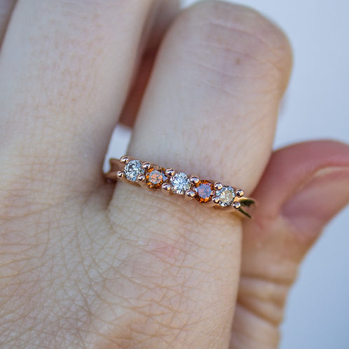 10kt Rose Gold Chocolate and Champagne Diamonds