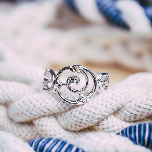 Great Lakes Water Drop Spiral Ring