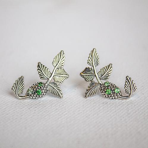 Tsavorite Garnet Pine Cone Earrings