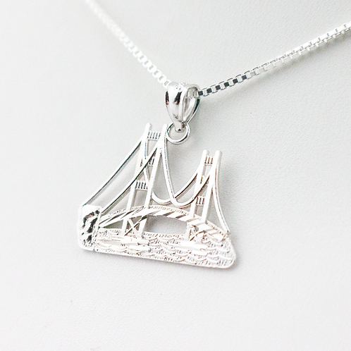 Mackinac Bridge Diamond Cut Pendant