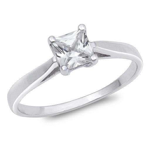 Cubic Zirconia Princess-Cut Solitaire Ring