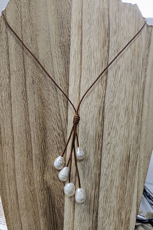 Freshwater Pearls with Brown Leather