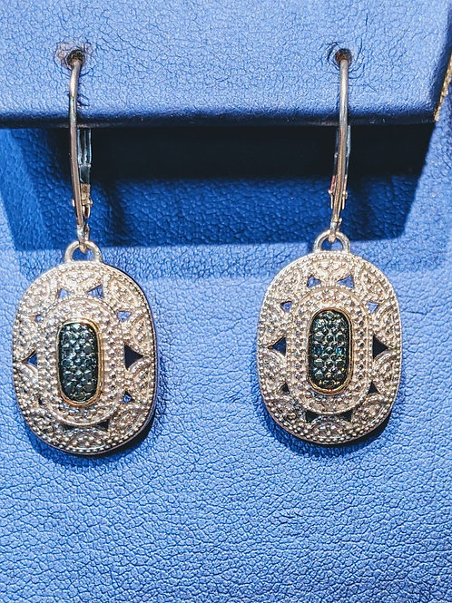 Blue Diamond Vintage Inspired Earrings