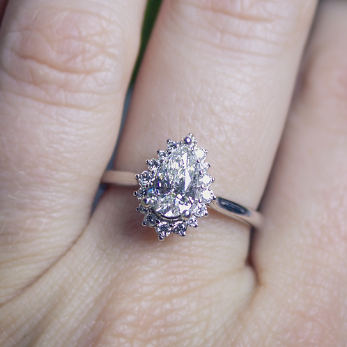 14kt White Gold Pear-Shaped Diamond Halo Ring