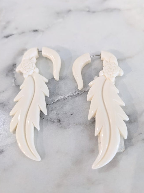 Hand-Carved Bone Earrings