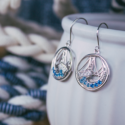 Mackinac Bridge Wave Earrings