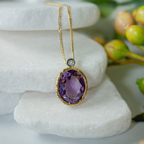 Amethyst & Diamond Designer Necklace