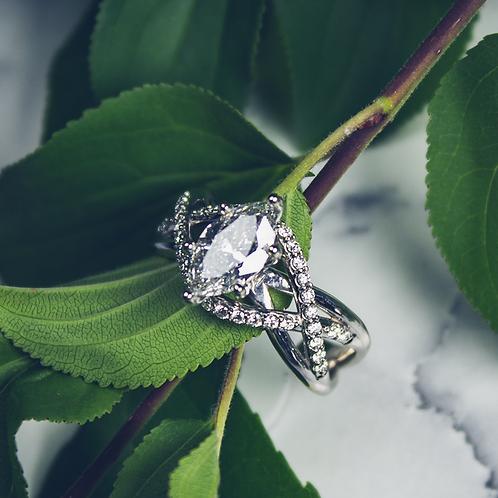 Braided Diamond Marquise Ring