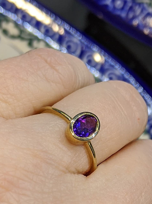 Bezel-Set Amethyst Ring