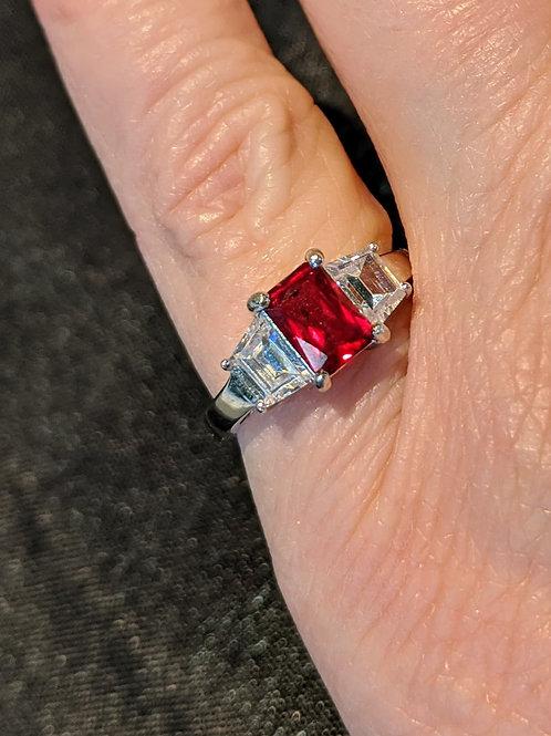 Sterling Silver Lab Ruby Ring