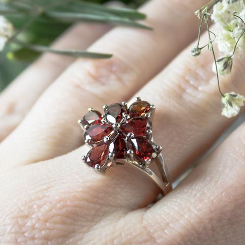 Garnet Blossom Ring