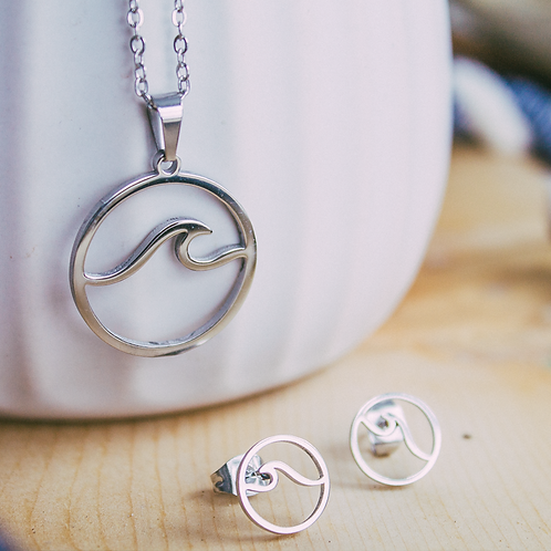 Stainless Wave Jewelry Set