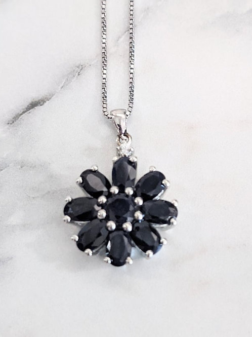 Navy Blue Sapphire Floral Necklace